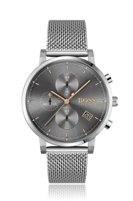 Mesh-bracelet chronograph watch with grey dial, Silver