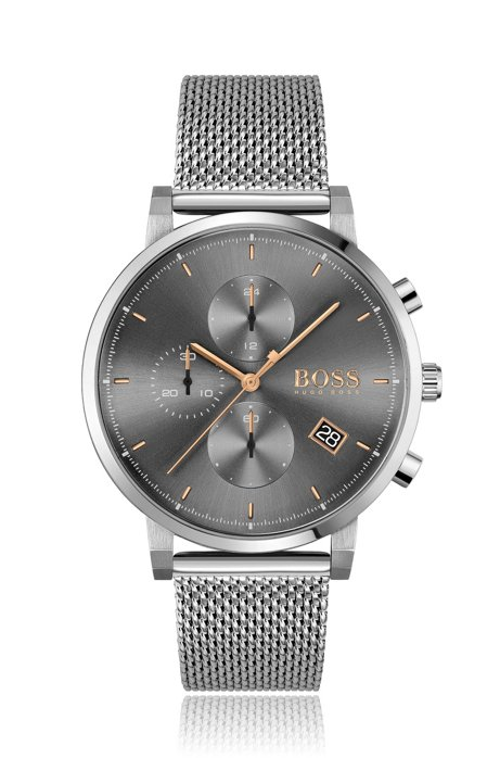 Grey-dial chronograph watch with mesh bracelet, Silver