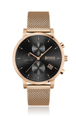 Carnation-gold-effect chronograph watch with black dial, Gold