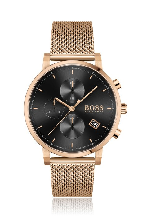 Cronografo con bracciale maglia mesh e finitura oro rosa chiaro, Oro