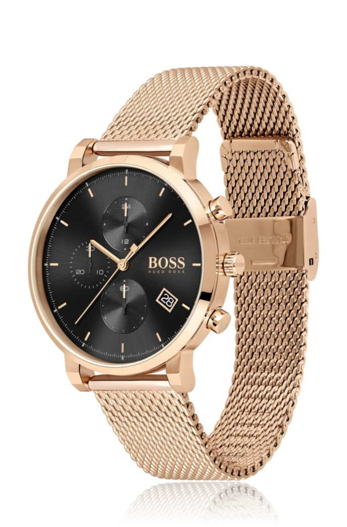 Carnation-gold-effect chronograph watch with black dial