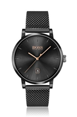 Black-plated watch with black dial and mesh bracelet, Black