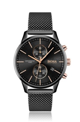 Black-plated chronograph watch with gold-effect elements, Black