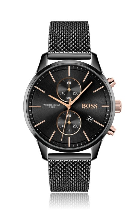 Zwart gecoate chronograaf met polsband met meshstructuur, Zwart