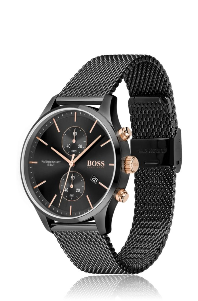 Black-plated chronograph watch with gold-effect elements
