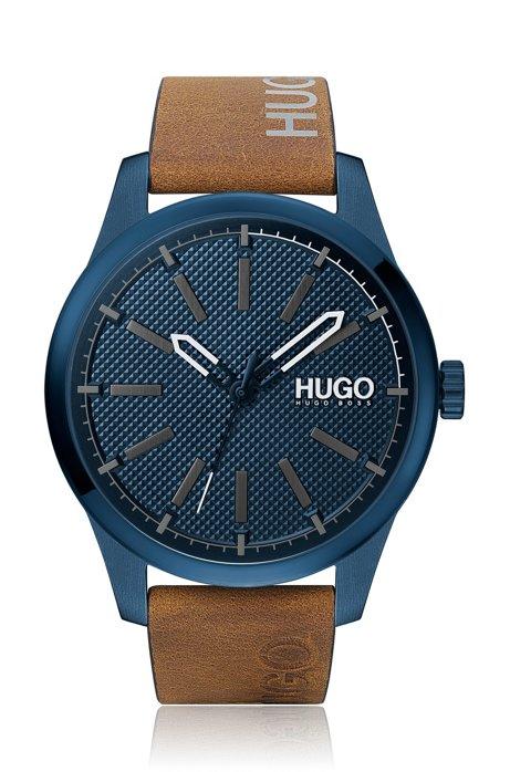 Orologio placcato blu con cinturino in pelle con logo stampato, Marrone