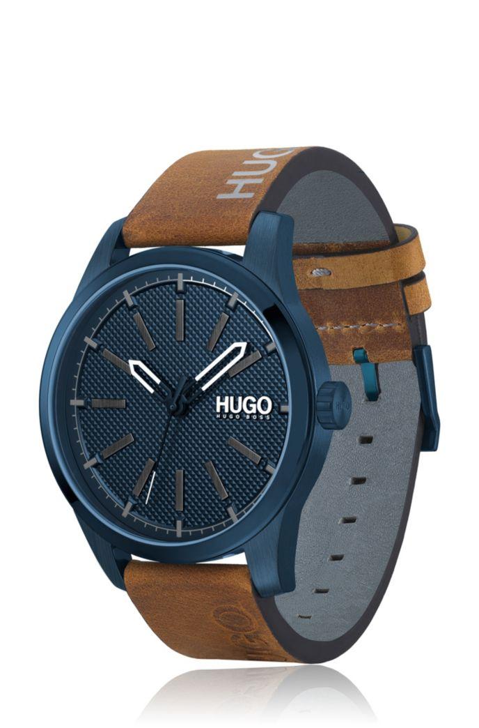 Blauwgecoat horloge met leren polsband en logoprint