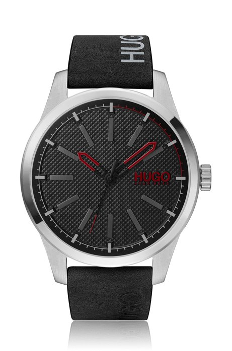 Stainless-steel watch with logo-printed black-leather strap, Black