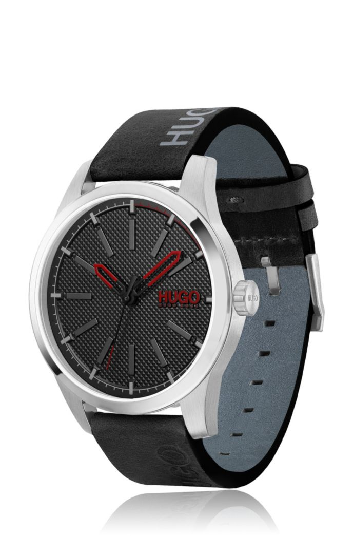 Stainless-steel watch with logo-printed black-leather strap