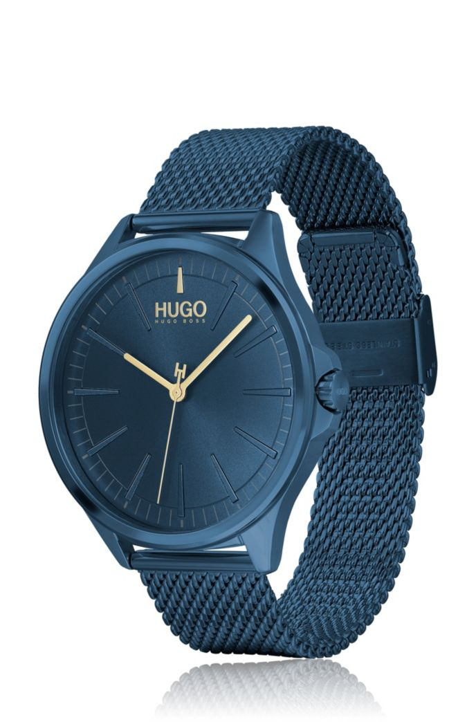 Blauwgecoat roestvrijstalen horloge met polsband in meshstructuur