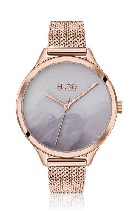 Horloge met wijzerplaat met dessin en lichtgoudkleurige afwerking, goud