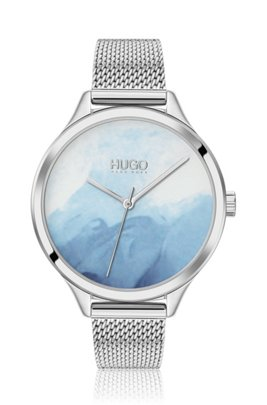 Stainless-steel watch with patterned blue dial, Silver