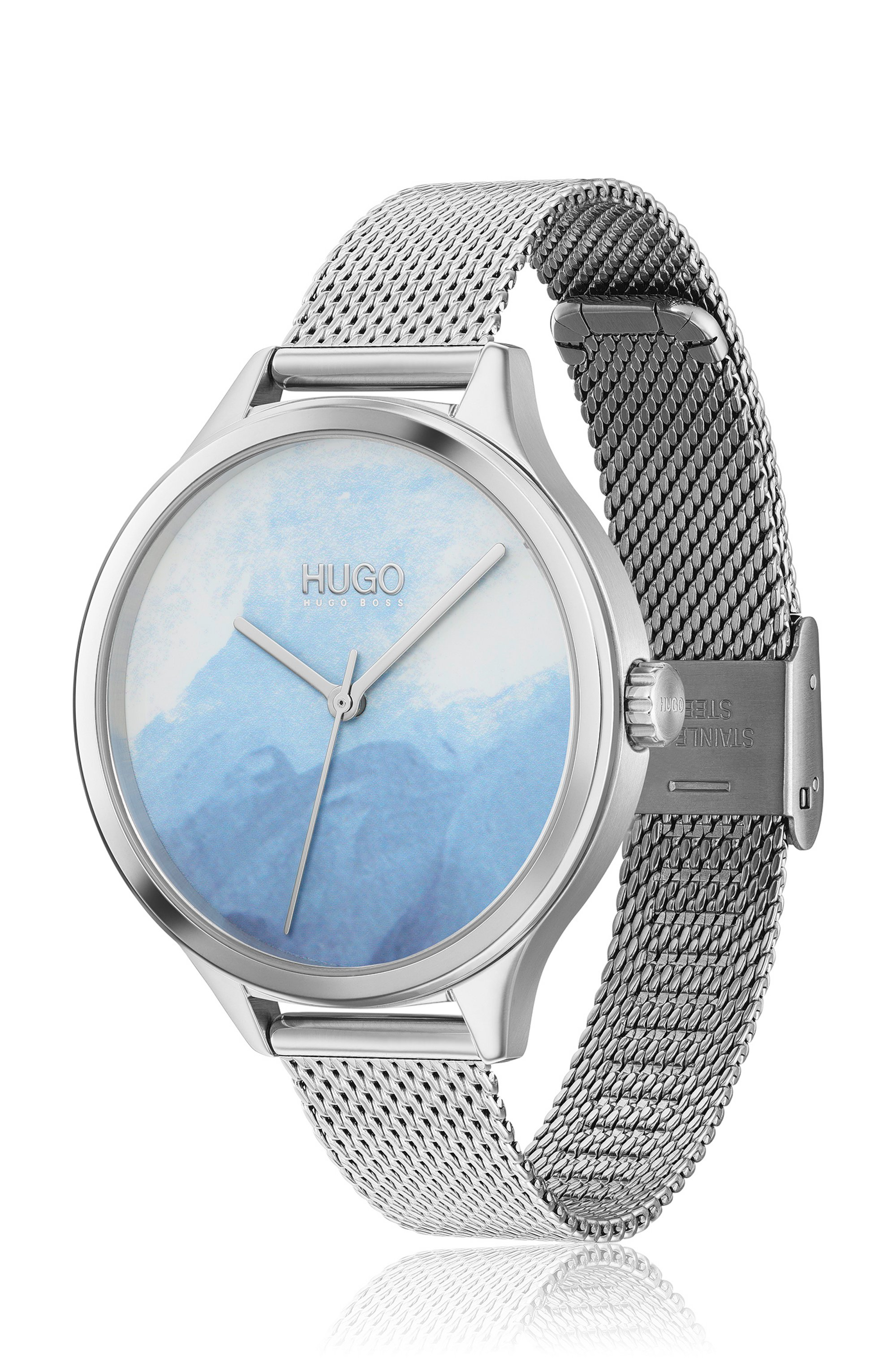 Stainless-steel watch with patterned blue dial
