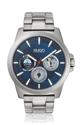 Brushed-steel watch with blue dial and link bracelet, Silver