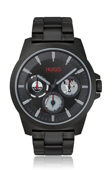 Black-plated multi-eye watch with distinctive sub-dials, Black