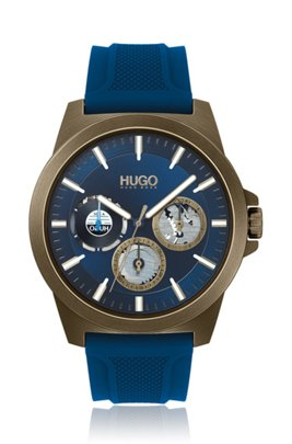 Khaki-plated watch with blue dial and silicone strap, Blue