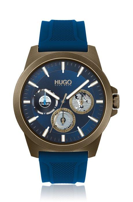 Orologio placcato cachi con sub-quadranti e cinturino in silicone, Blu