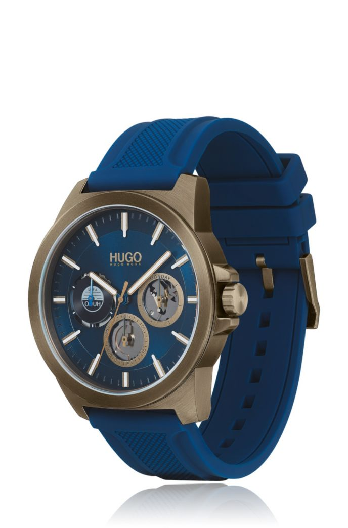 Khaki-plated watch with blue dial and silicone strap