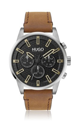 Multi-eye watch with black honeycomb dial and leather strap, Light Brown