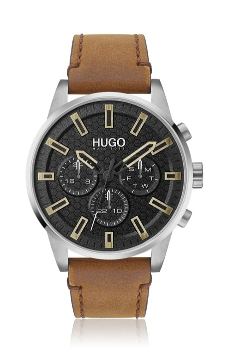 Multi-eye watch with leather strap and honeycomb dial, Light Brown