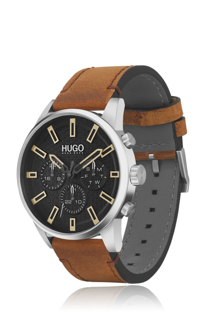 Multi-eye watch with black honeycomb dial and leather strap