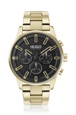 Multi-eye watch with ice-gold finish, Gold