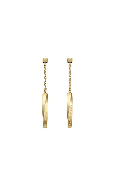 Earrings with yellow-gold finish and twisted logo bar, Gold