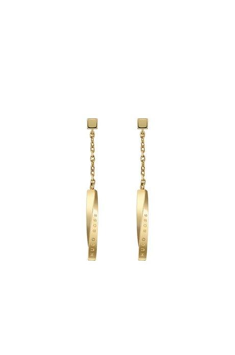 Ohrringe mit Gelbgold-Finish und Twist-Balken mit Logo, Gold