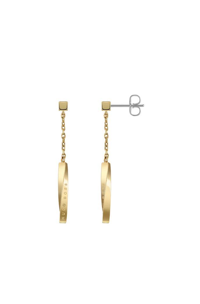 Ohrringe mit Gelbgold-Finish und Twist-Balken mit Logo