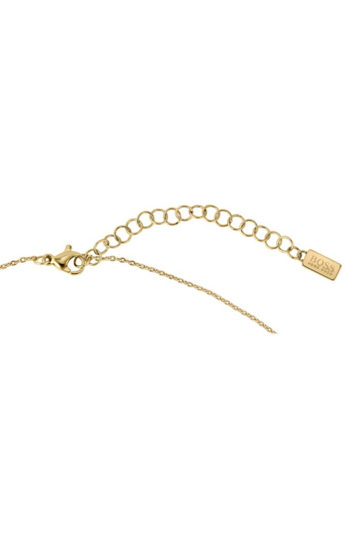 Y-chain necklace with yellow-gold finish and twisted bar