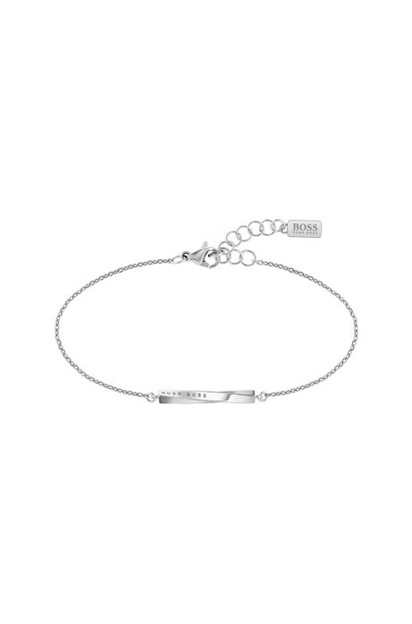 Chain bracelet with logo-engraved twisted bar, Silver