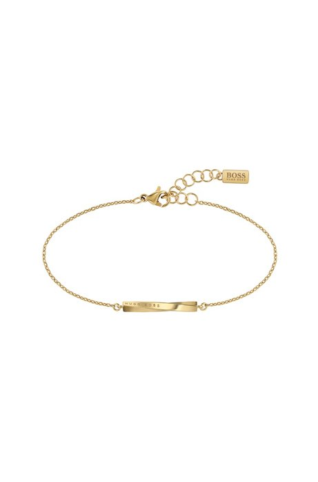 Chain bracelet with yellow-gold finish and twisted bar, Gold