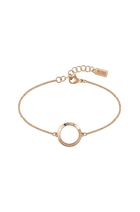 Chain bracelet with carnation-gold finish and Swarovski® crystals, Gold