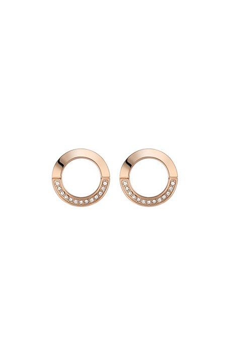Ohrringe mit orangegoldfarbenem Finish und Swarovski®-Kristallen, Gold