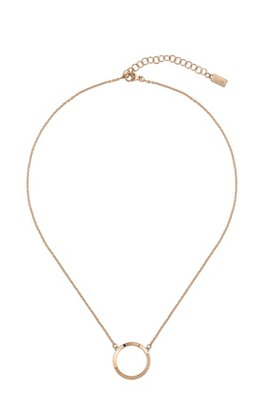 Reversible necklace with carnation-gold finish and Swarovski® crystals, Gold