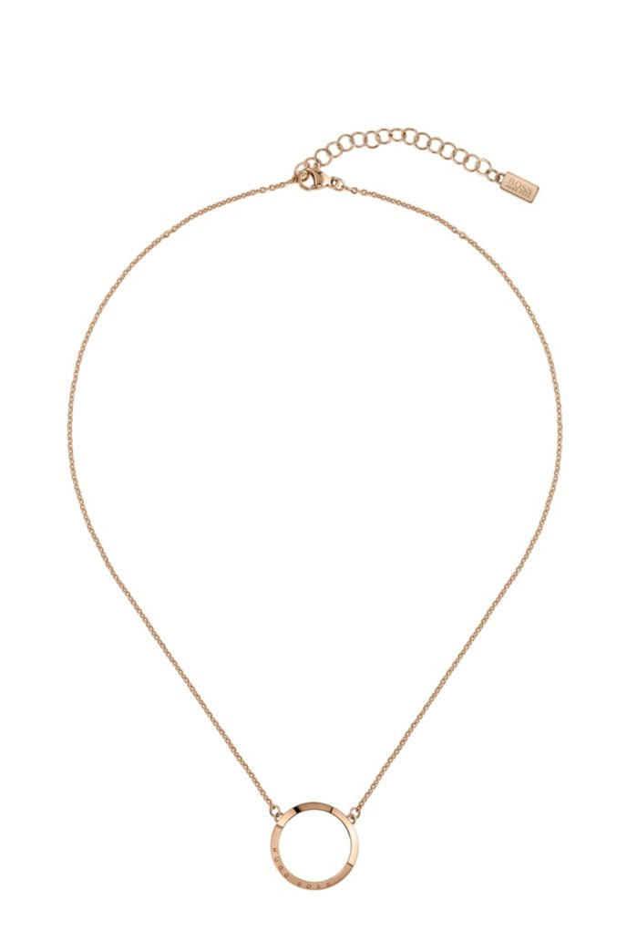 Reversible necklace with carnation-gold finish and Swarovski® crystals