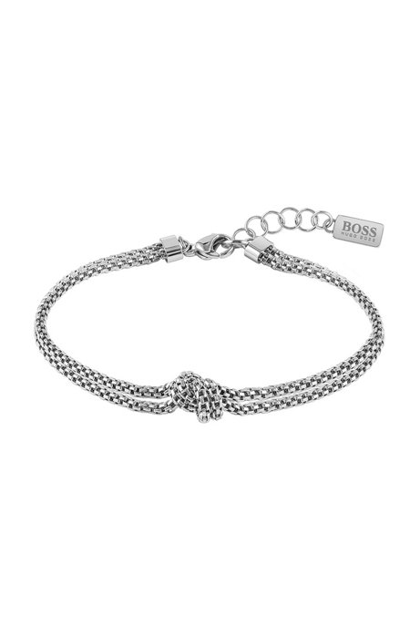Tubular-mesh bracelet with signature knot, Silver
