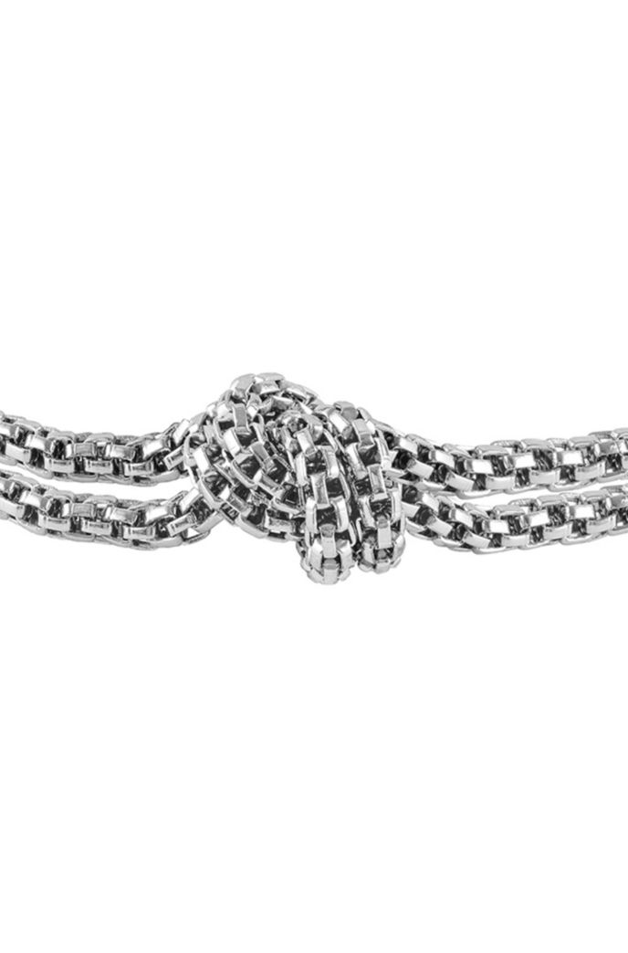 Tubular-mesh bracelet with signature knot