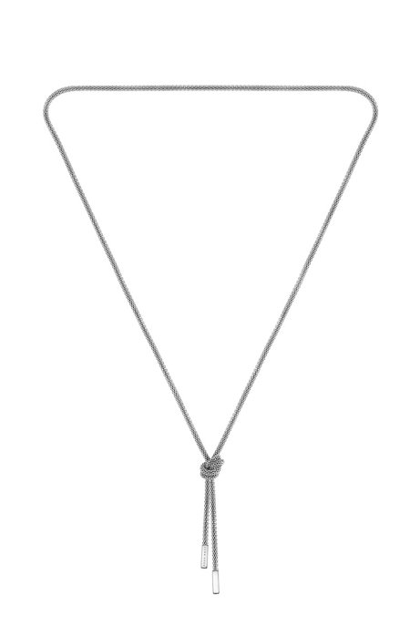 Tubular-mesh necklace with signature knot, Silver
