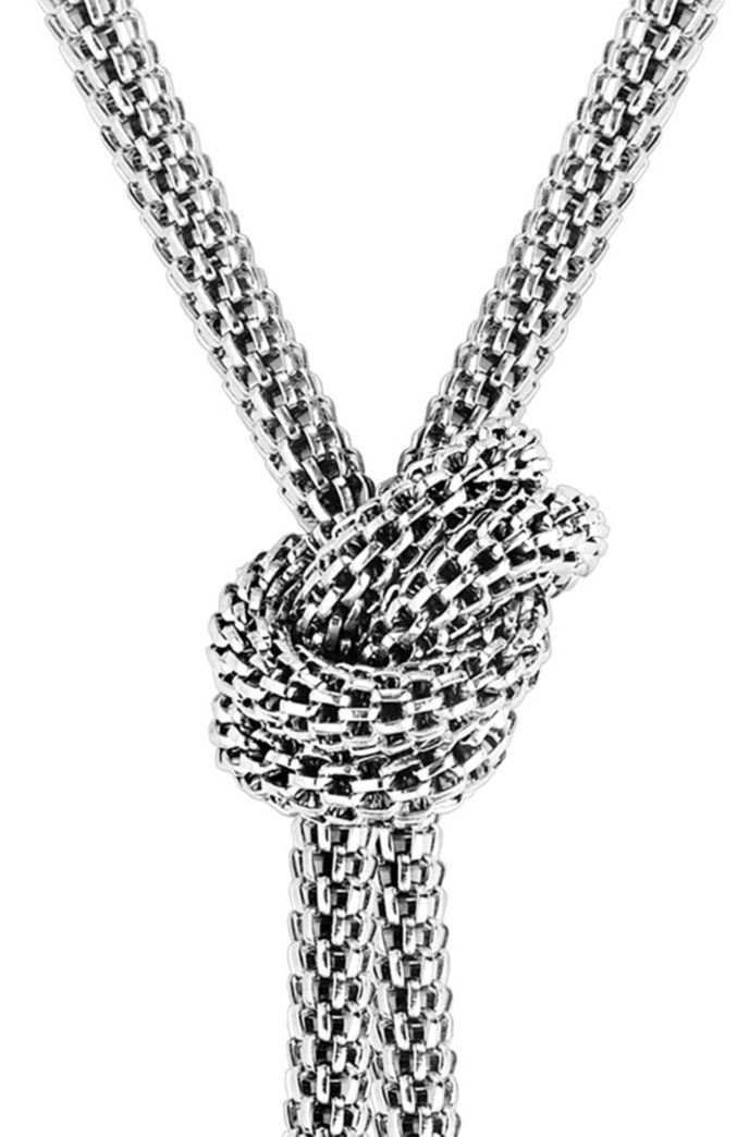 Tubular-mesh necklace with signature knot