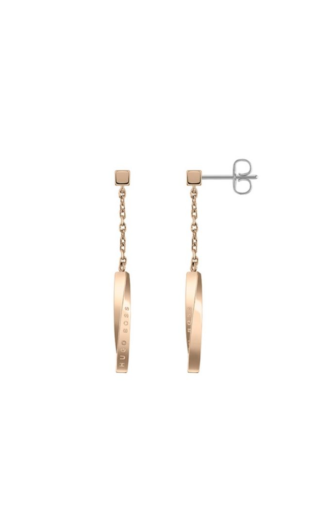 Twisted-bar drop earrings with carnation-gold finish