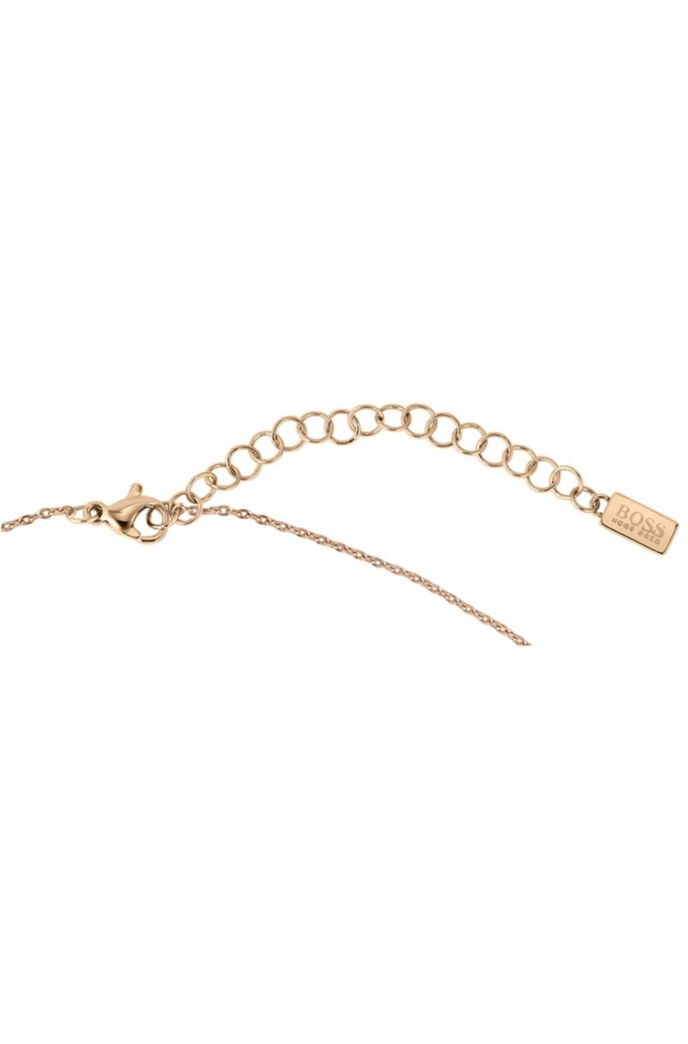 Y-chain necklace with carnation-gold finish and twisted pendant