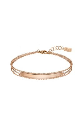 Triple-chain bracelet with carnation-gold finish, Gold