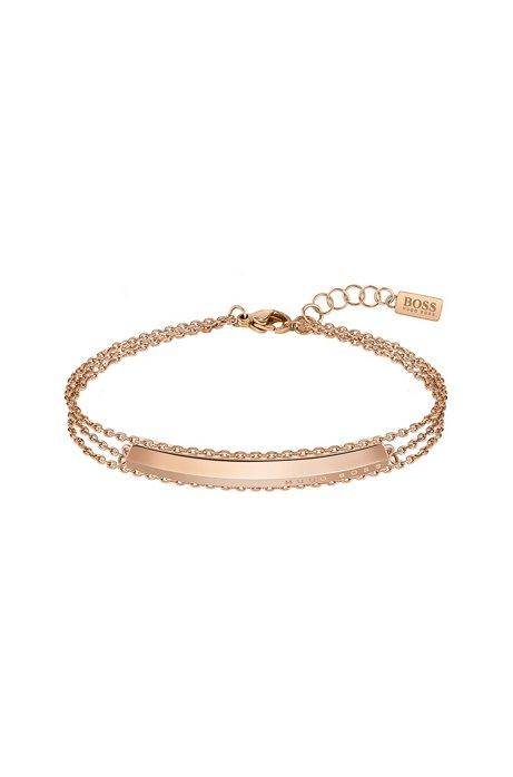 Bracciale a tre catenelle con finitura oro rosa chiaro, Oro