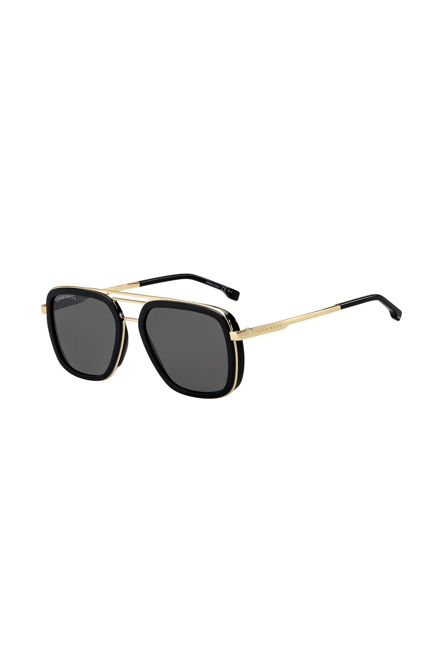 Triple-bridge sunglasses with black and gold finishes, Assorted-Pre-Pack