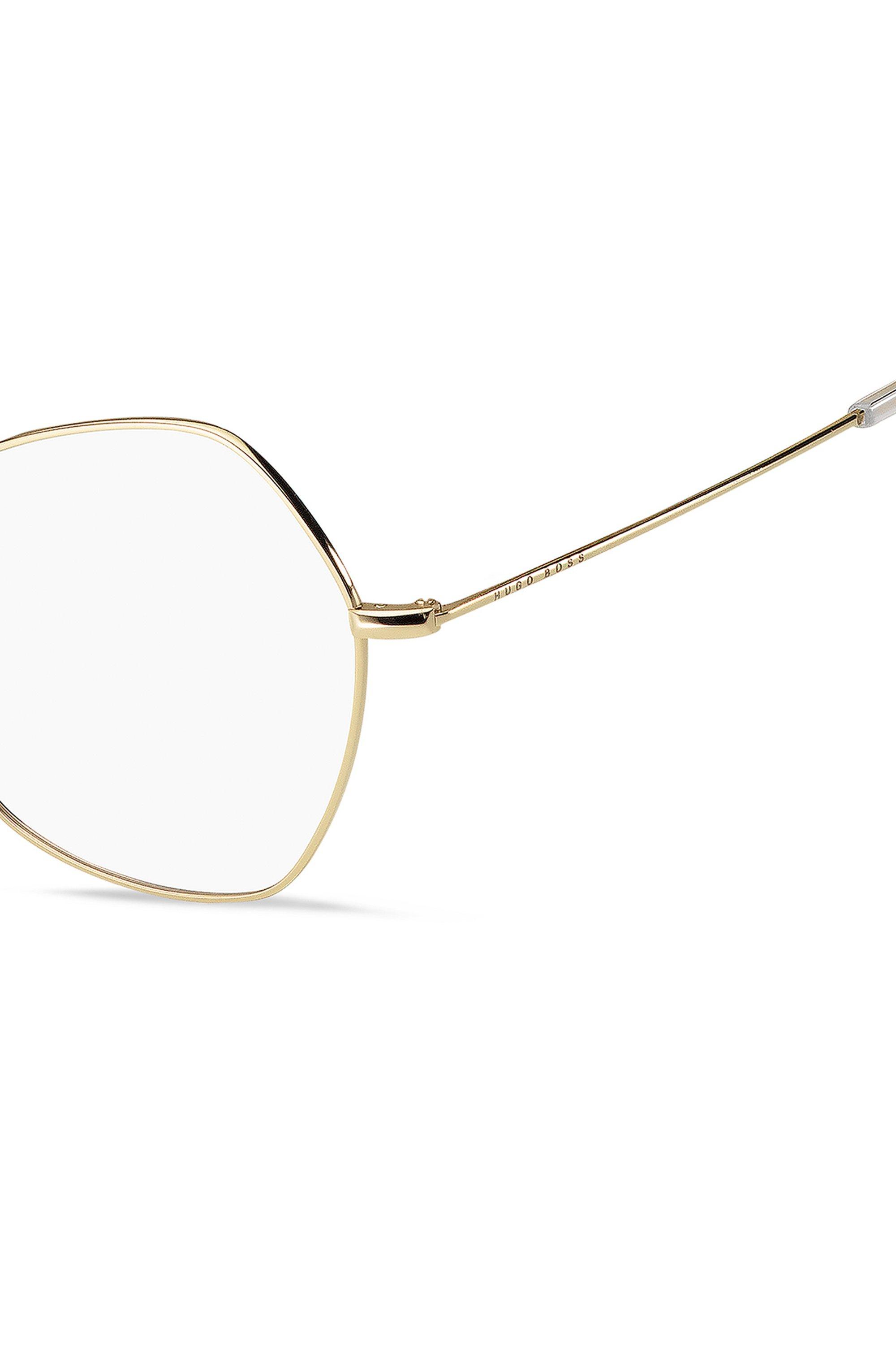 Monture optique angulaire en titane à la finition dorée