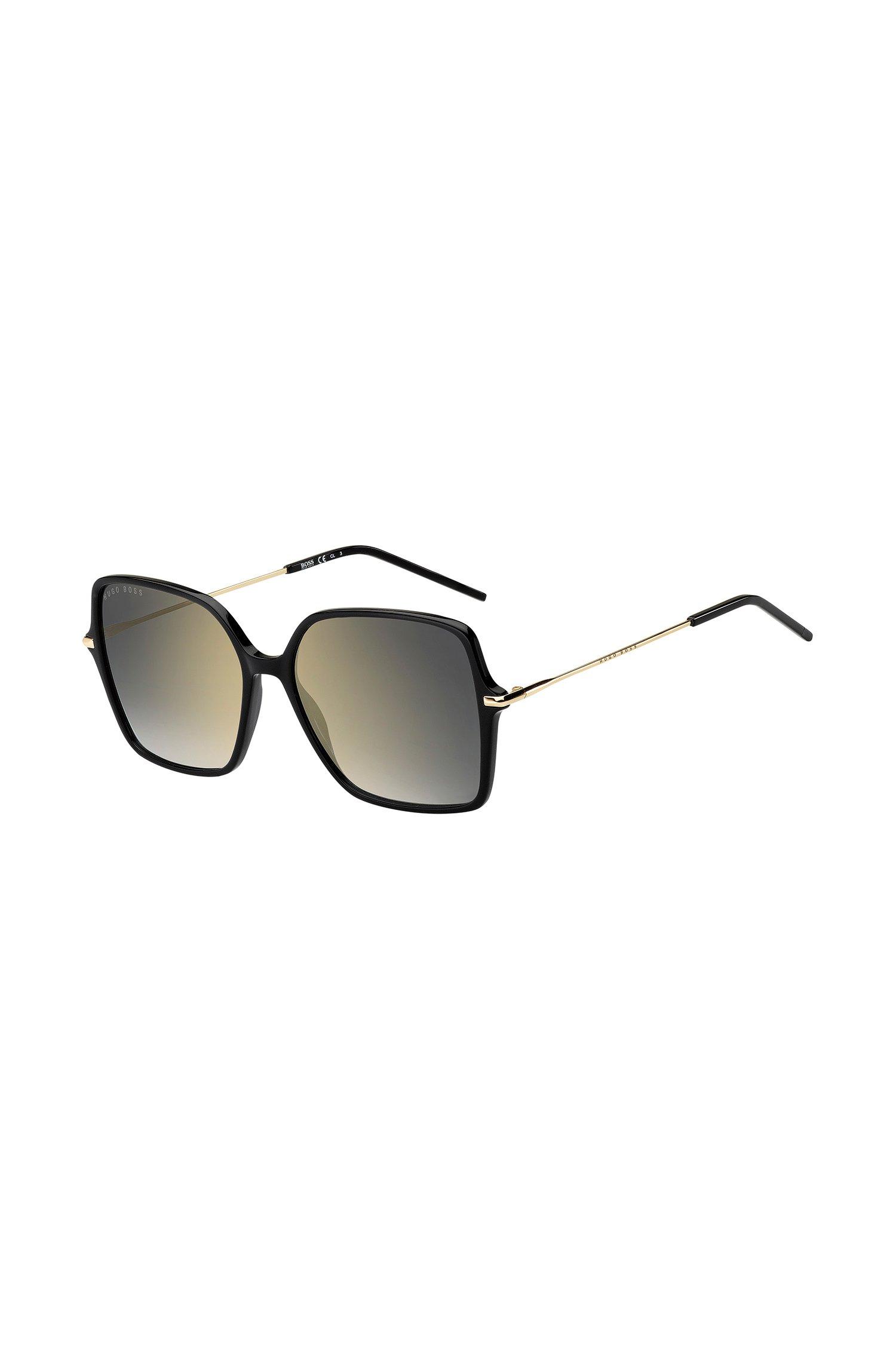 Lunettes de soleil en acétate noir avec verres miroir, Assorted-Pre-Pack
