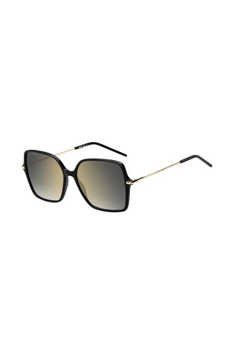Black-acetate sunglasses with mirrored lenses, Assorted-Pre-Pack