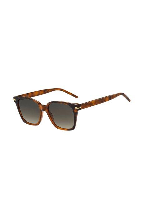 Sonnenbrille aus Acetat mit Havanna-Muster und gelasertem Logo, Assorted-Pre-Pack