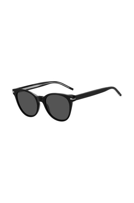 Gafas de sol de acetato negro con logos grabados a láser, Assorted-Pre-Pack